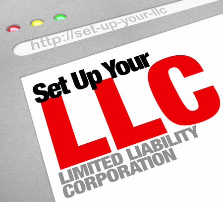 licensed: Set Up Your LLC limited liability corporation words on a website screen to illustrate an online resource for helping you set up your business and get licensed