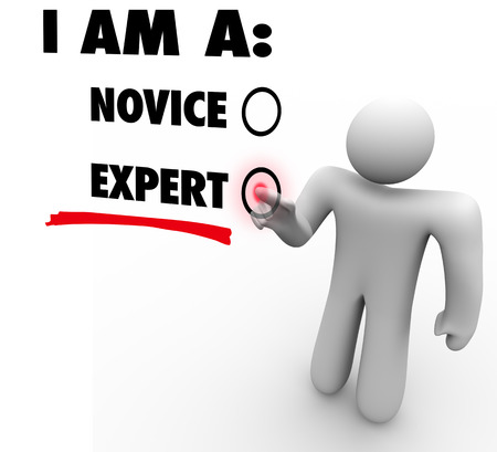 competency: I Am an Expert person choosing or deciding his skill level or rating based on experience and expertise