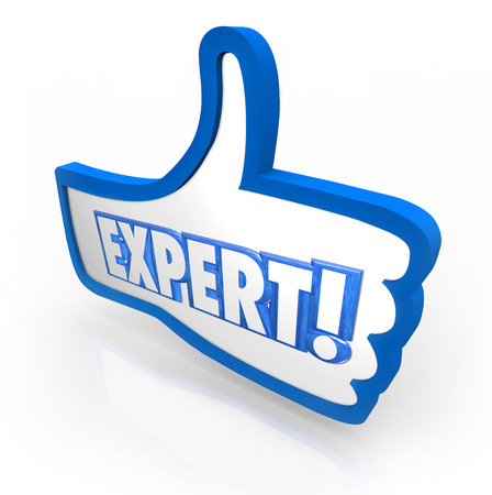 Expert word on blue thumbs up symbol to illustrate a review, rating or feedback to show you are experienced and have great expertise or skill