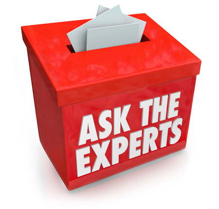 skillset: Ask the Experts words on a submission or suggestion box for collecting questions from people who need help, assistance, tips, advice or guidance Stock Photo