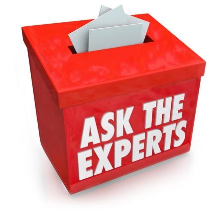 Demandez aux Experts mots sur une soumission ou boîte à suggestions pour recueillir des questions de personnes qui ont besoin d'aide, d'assistance, de conseil, avis ou conseils