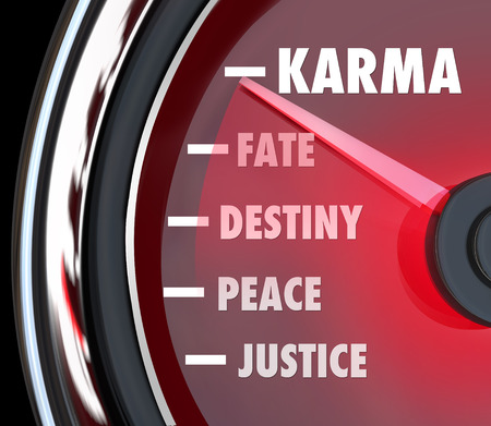 plight: Karma and related words like justice, peace, destiny and fate on a speedometer