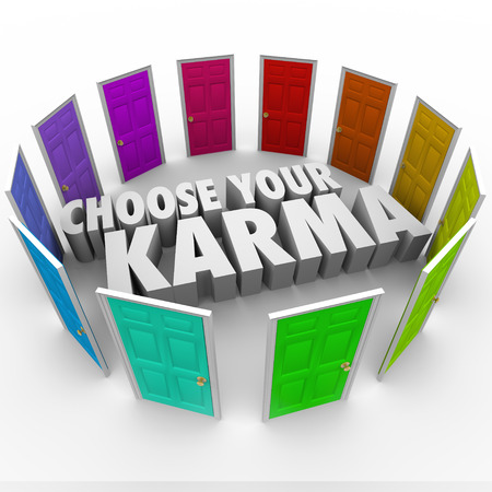plight: Choose Your Karma words in the middle of a circle of many doors