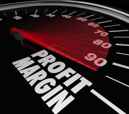 margen: Palabras Profit Margin en un velocímetro con aguja para ilustrar rápido aumento de los ingresos de la renta neta o de dinero para un negocio, empresa, tienda o vendedor