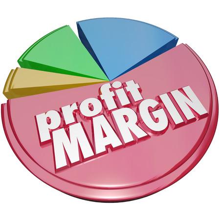 margen: Palabras Profit Margin en un gráfico circular que mide su crecimiento o el aumento de los ingresos netos obtenidos después de los costos