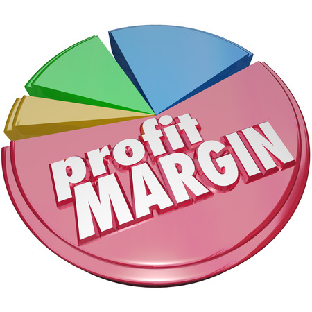 earn more: Profit Margin words on a pie chart measuring your growing or increasing net revenue earned after costs