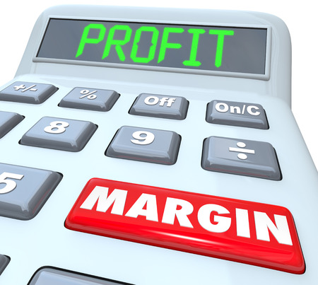increased: Profit Margin words on a plastic calculator to illustrate adding and figuring net money earned and financial returns for a company or business