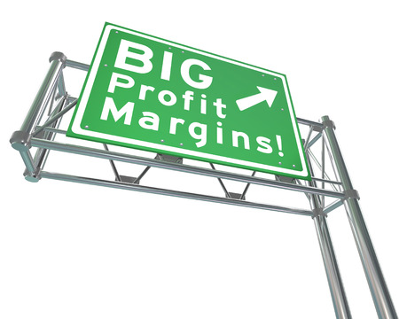 viable: Big Profit Margins words on a green freeway road direction sign to point you in the direction of increasing net earned income for your business, company or home finances or budget Stock Photo