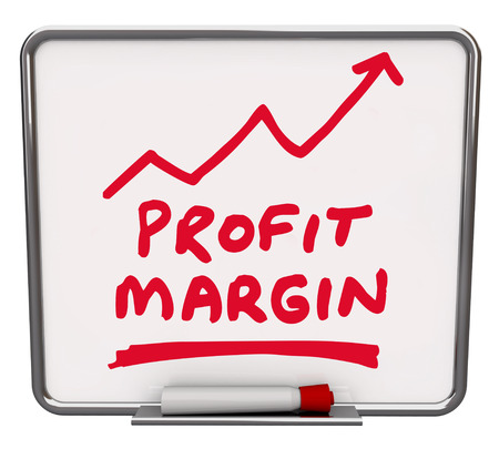 viable: Profit Margin words and an arrow rising drawn on a dry erase board with red marker or pen to illustrate an increase in net earnings or money made by a business or company Stock Photo