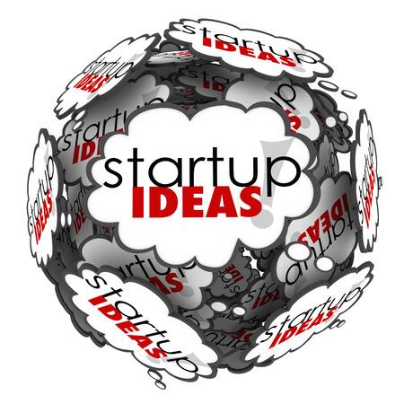 Idées de démarrage mots dans les nuages ??de pensée pour illustrer les plans de remue-méninges pour lancer une nouvelle entreprise ou une entreprise