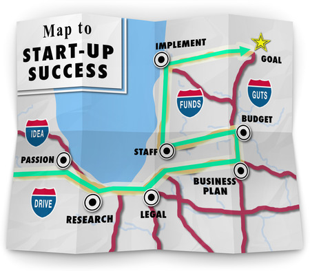 A road map to start-up success offering directions and help in starting your new business or company following a business plan photo
