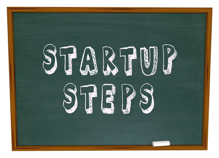 endeavor: Startup Steps words on a school chalk board to illustrate education and learning about beginning or launching a new business, company or venture to earn money Stock Photo
