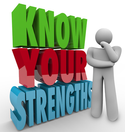 Know Your Strengths words beside a thinking person wondering what his unique or special skills or abilities are to give him a competitive advantage in a job, career, challenge or life Фото со стока