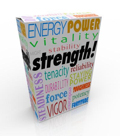 에너지, 전력, 수도, 안정성, 내구성 및 내구성이 최선의 선택을 설명하기 위해 제품 포장이나 상자에 강도 단어 스톡 콘텐츠