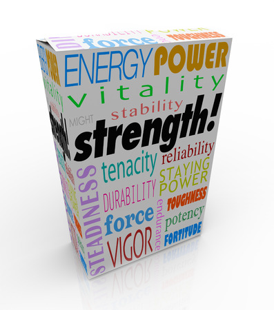 might: Strength word on a product package or box to illustrate the best choice with energy, power, might, stability, endurance and durability