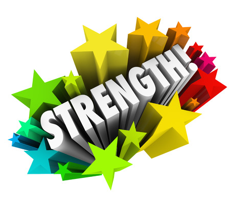 steadiness: Strength word surrounding by stars to illustrate competitive advantage or special ability that is better than others so you may win a competition, game or challenge