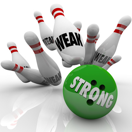 forceful: Strong bowling bowl strikes pins marked Weak to illustrate the strength of competitive advantage to win a game, competition or challenge in life, work, career or show of force