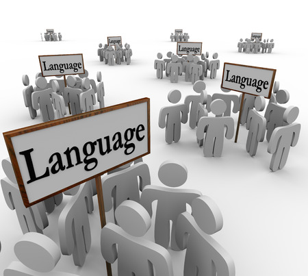 miscommunication: Language word on signs with people gathered around them to illustrate many different and diverse groups of cultures and communities Stock Photo