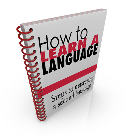 instruction manual: How to Learn a New Language book manual instruction guide to teach how to speak a foreign dialect Stock Photo