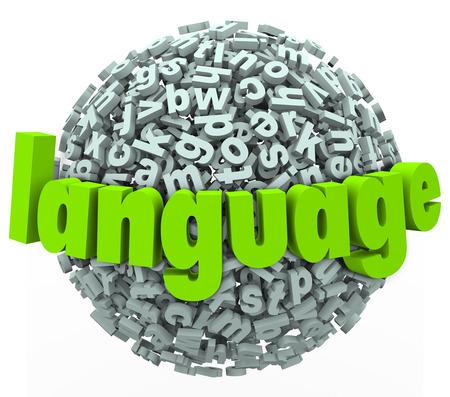 Taal woord op een brief bol of bal te illustreren het leren van een nieuwe woordenschat in een vreemde dialect Stockfoto