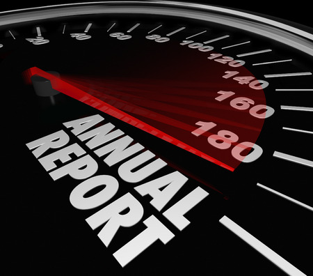 disclose: Annual Report words on a speedometer to illustrate great financial performance for the prior year in increased sales, profits, revenue and earnings