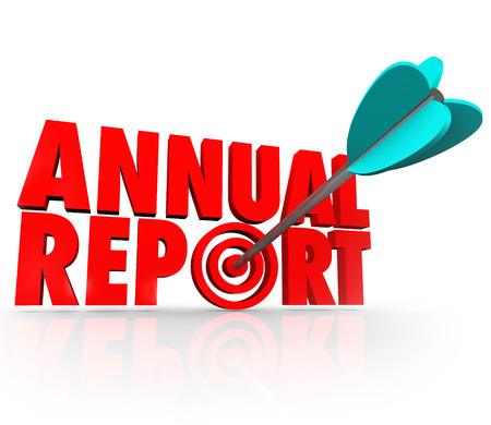 Annual Report arrow in word to illustrate good or great financial performance for the past year in earnings, profit or revenue from increased sales photo