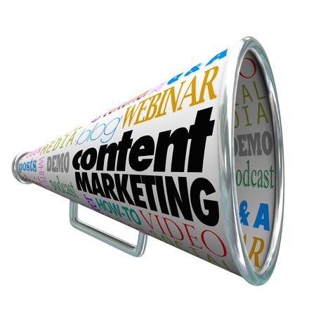 비즈니스 또는 회사에서 고객 및 전망 봉사 활동과 통신을 설명하기 위해 물러나 또는 확성기의 콘텐츠 마케팅 단어 스톡 콘텐츠