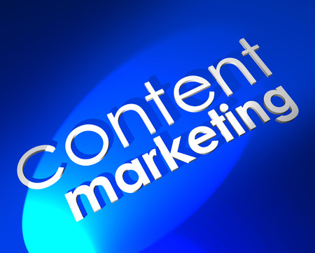 outreach: Content Marketing 3d words on blue background to illustrate digital customer outreach through media and channels such as blogs, webinars, videos, social media and other formats