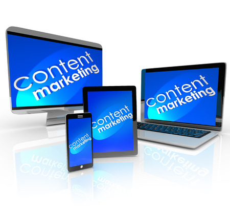 outreach: Content Marketing words and background on computer devices -- laptop, desktop, smart phone and tablet -- to illustrate many forms of audience and customer outreach in digital and online media