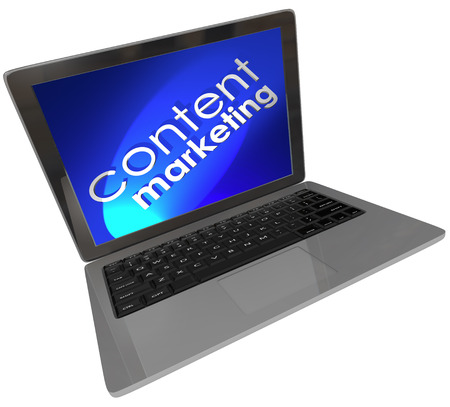 articles: Content Marketing words on a laptop computer screen with blue background to illustrate customer outreach and advertising through articles, blogs, videos, webinars and more Stock Photo