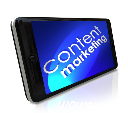 articles: Content Marketing words on a smart cell phone to symbolize digital business communication to customers and online audience outreach through blogs, articles, videos and more