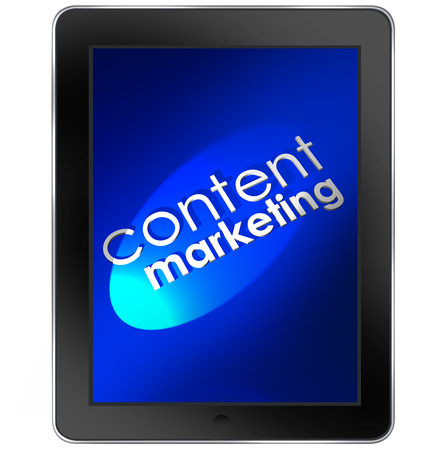 informational: Content Marketing words on a tablet computer to illustrate digital online business communication and customer or audience outreach through blogs, video, webinars, enewsletters and more Stock Photo