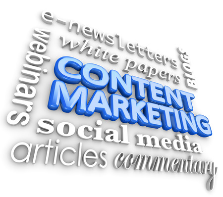 Content Marketing words to illustrate digital business communication via webinars, blog posts, articles, videos, social media, enewsletters, white papers and other forms of online marketing