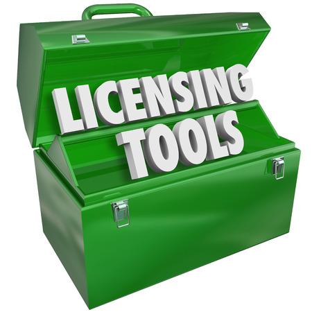 Licensing Gereedschap Toolbox officiële vergunning Certificering Stockfoto