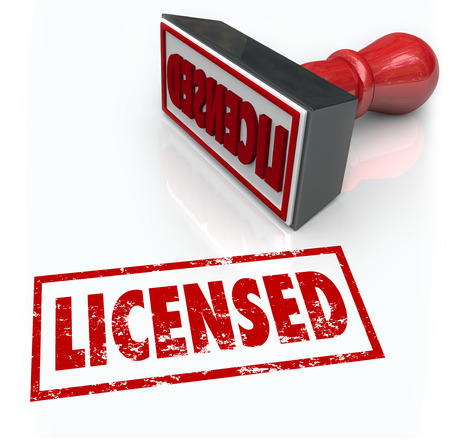 certify: Licensed stamped word to illustrate official authorization, certification as a professional or authorized product or service