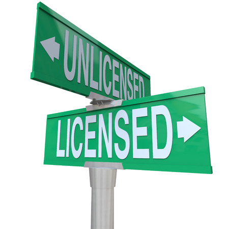 authorization: Licensed vs Unlicensed words on two way green road or street signs to illustrate choosing a certified or officially authorized professional service