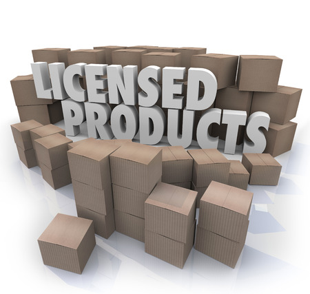 granting: Licensed Products words among cardboard boxes to illustrate goods or merchandise that is official, authorized, approved or certified Stock Photo