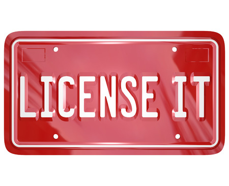 authorization: License It red vehicle vanity plate to illustrate official authorization, approval or certification for a patented or copyrighted product