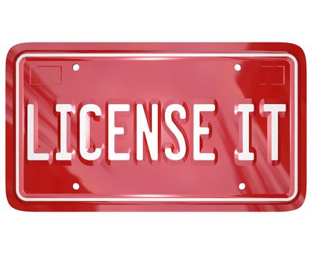 Licentie Het rode voertuig ijdelheid plaat om officiële toestemming, goedkeuring of certificering voor een gepatenteerd of auteursrechtelijk beschermd product te illustreren