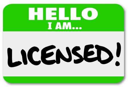 Hallo ik ben Licensed naamplaatje sticker om te illustreren dat u een gecertificeerde professional te worden voorgesteld als een verwijzing in een netwerk of een vergadering