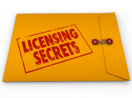 granting: Licensing Secrets words on a yellow confidential classified envelope