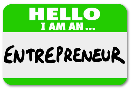 Entrepreneur name tag to introduce you as a self employed business owner networking to learn tips and information about managing your company Stock Photo