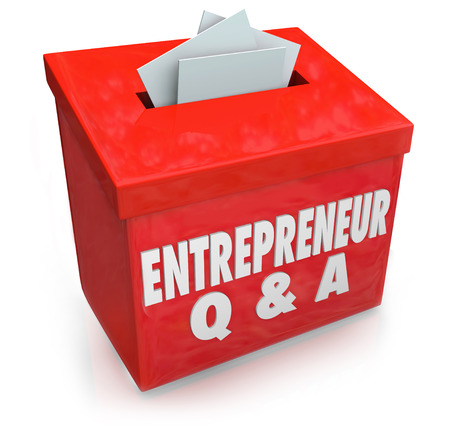 controling: Entrepreneur Q & A words on a box collecting your questions on how to run a business and be self employed becoming your own boss and controling your fate and destiny Stock Photo