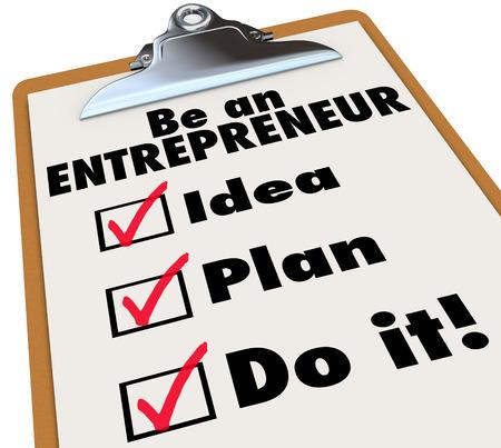 patron: Ser un Emprendedor palabras sobre un checklist para ilustrar las instrucciones y pasos para convertirse en el nuevo propietario y un auto de negocios empleada