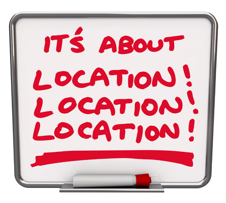relocating: white board with text of Its About Location!