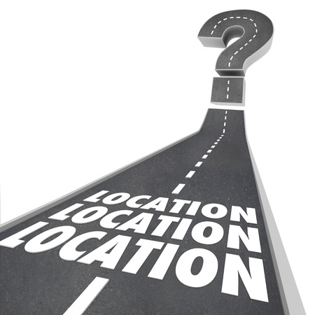 best location: Location Location Location words on a road to illustrate navigation to your desired destination when moving or traveling to the best place to live, work or play