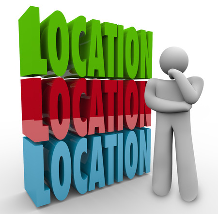 best location: Location words stacked beside a person thinking or wondering about the best place to live or work, a desirable area in real estate to buy or rent Stock Photo