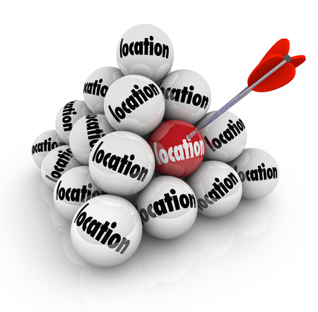 disadvantage: Location words on balls in a pyramid to illustrate the many choices for buying or selling real estate, a home or business making the place or area a top priority