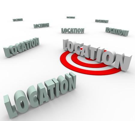 targeted: Location words with one on a red target to illustrate finding and searching for the best place to live, work or travel to, making the best destination a priority