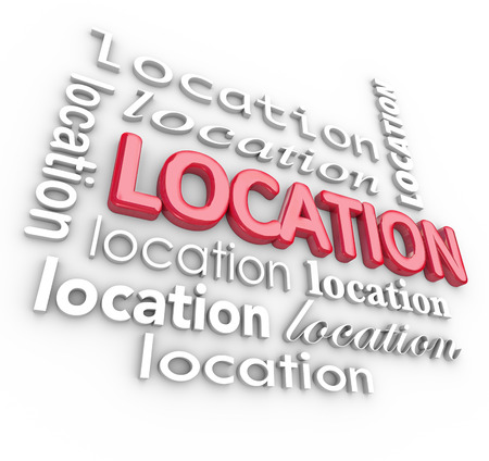 Location word on a 3d letter background to illustrate the importance of finding a good, desirable area to live or do business photo